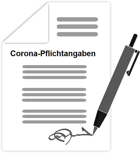 Corona Pflichtangaben beispielsweise bei einem Restaurant Besuch